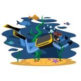 Deportes extremos del agua que bucean que se zambullen, elemento aislado del diseño Fotos de archivo