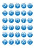 Deportes olímpicos azules fijados Foto de archivo