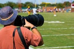 Deportes profesionales Photogapher - fútbol americano Imagen de archivo libre de regalías