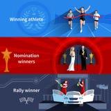 Deportes y banderas de los ganadores del nombramiento fijadas Imagen de archivo
