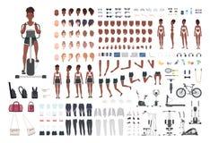 Deportista afroamericana o atleta de sexo femenino DIY o equipo de la animación Sistema de partes del cuerpo delgadas del ` s de  ilustración del vector