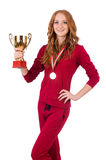 Deportista bastante de sexo femenino con el premio aislado encendido Foto de archivo