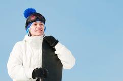 Deportista feliz con los snowboards Fotografía de archivo