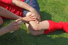 Deportista herido Foto de archivo libre de regalías