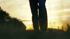 Deportista que corre en una cámara en una puesta del sol Cámara lenta almacen de video