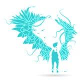 Depositário de Gabriel, silhueta da ilustração do vetor do sentine de um anjo da chama, com as grandes asas expandidas ilustração stock