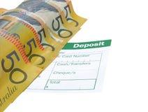 Deposit. Money deposit australian money stock photo