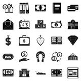Deposit account icons set, simple style Royalty Free Stock Image