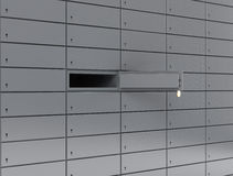 Deposit box. Illustration of opened deposit box with key and blank label Stock Photos