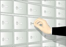 Deposit boxand hand Royalty Free Stock Photo