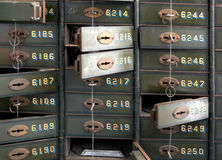 Deposit boxes of a bank. In the Technik Museum Magdeburg Stock Photos