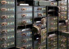 Deposit boxes of a bank Stock Photos