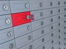Deposit boxes. 3d illustration of deposit boxes with one selected Royalty Free Stock Photo
