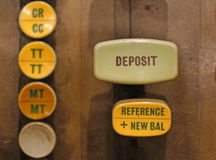 Deposit button on old automated banking machine. Close up on Deposit button on old automated banking machine Royalty Free Stock Photography