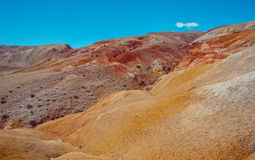 Deposit of colorful clay in the Altai Mountains or Mars valley, Kizil-Chin Stock Photos