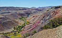 Deposit of colorful clay in the Altai Mountains or Mars valley, Kizil-Chin Stock Images