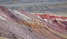 Deposit of colorful clay in the Altai Mountains or Mars valley, Kizil-Chin Royalty Free Stock Photography