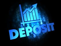 Deposit Concept on Dark Digital Background. Deposit Concept - Blue Color Text on Dark Digital Background Stock Photography