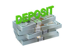 Deposit concept with dollars Royalty Free Stock Images