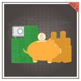 Deposit dollar vector of safe piggy set bank with golden coin Isolat Stock Photos