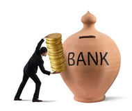 Deposit gains in a bank Stock Photography