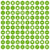 100 deposit icons hexagon green. 100 deposit icons set in green hexagon isolated vector illustration stock illustration