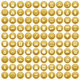 100 deposit icons set gold. 100 deposit icons set in gold circle isolated on white vectr illustration Royalty Free Illustration
