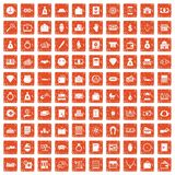 100 deposit icons set grunge orange. 100 deposit icons set in grunge style orange color isolated on white background vector illustration Royalty Free Stock Images