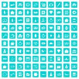 100 deposit icons set grunge blue. 100 deposit icons set in grunge style blue color isolated on white background vector illustration royalty free illustration