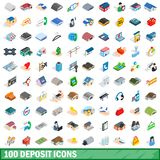 100 deposit icons set, isometric 3d style. 100 deposit icons set in isometric 3d style for any design illustration vector illustration