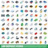 100 deposit icons set, isometric 3d style. 100 deposit icons set in isometric 3d style for any design illustration vector illustration