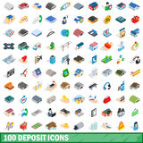100 deposit icons set, isometric 3d style. 100 deposit icons set in isometric 3d style for any design vector illustration Royalty Free Illustration