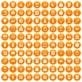 100 deposit icons set orange. 100 deposit icons set in orange circle isolated vector illustration Stock Photo