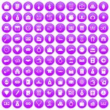100 deposit icons set purple. 100 deposit icons set in purple circle isolated vector illustration Stock Photography