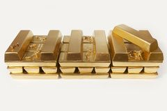 Deposit of illegal gold in amount of 500 kilos in standard bricks. Hundreds kilos of illegal gold bullions on background stock image