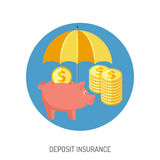 Deposit Insurance Flat Icon. For Web Site, Advertising with Piggy Bank, Umbrella, Coins Stock Image
