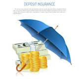 Deposit Insurance. Success in Business and Protect against Inflation Concept. Umbrella protects Paper Money and Coins,  vector Royalty Free Stock Photography