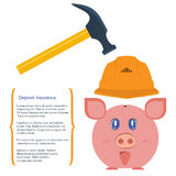 Deposit Insurance. Vector illustration. Pig piggy bank in a helmet is protected from breaking hammer. The concept is the protection of Finance, the preservation Stock Photos