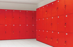 Deposit locker boxes. In red color Stock Photos