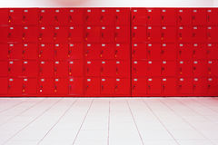 Deposit locker boxes. In red color Stock Image