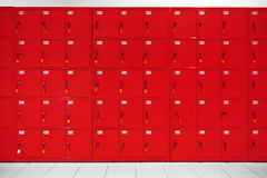 Deposit locker boxes. In red color Stock Photography