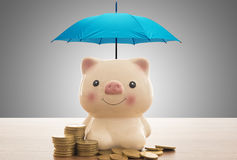 Deposit protection concept. Deposit protection and Insurance deposit concept, pink piggy bank is protected by a blue umbrella Royalty Free Stock Photography