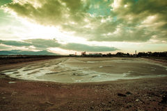 Deposit of salt. In a lake, Italy Royalty Free Stock Photos