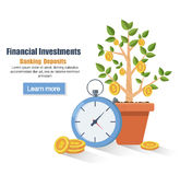 Deposit. Saving money concept. Financial profit growth. Increase in profit. Growth process plant-money. vector illustration in fla. Deposit. Saving money concept Royalty Free Stock Photos