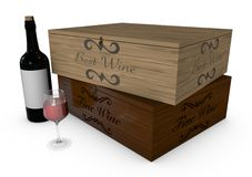 Deposit of wine, bottle and glass Royalty Free Stock Photography