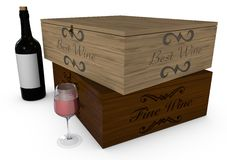 Deposit of wine, bottle and glass Stock Photo