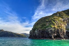 Deposita a península, Nova Zelândia Penhascos na entrada ao porto de Akaroa fotos de stock royalty free