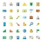 Depositando, finanzas, iconos coloridos Fotos de archivo libres de regalías