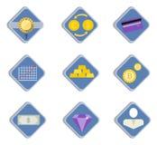 Depositando o comércio eletrônico financeiro do negócio dos ícones servic Fotografia de Stock Royalty Free