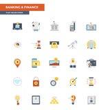 Depositar e finança lisas dos ícones da cor Foto de Stock Royalty Free